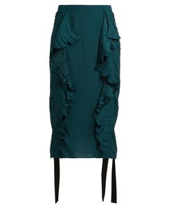 Marco De Vincenzo | Ruched Ruffle-Trimmed Satin Pencil Skirt