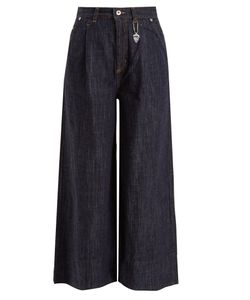 Muveil   Frayed-Hem High-Rise Wide-Leg Jeans