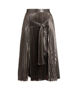 Christopher Kane | Tie-Front Pleated Lamé Midi Skirt