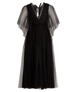 Rochas | Ruffle-Trimmed Open-Back Tulle Dress