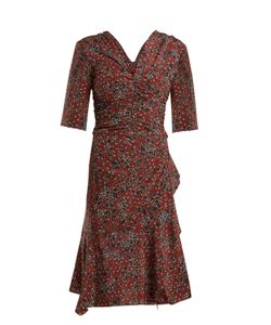 Isabel Marant   Brodie Ruched Print Stretch-Silk Dress