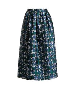 Oscar de la Renta | Abstract Print Silk-Mikado Skirt