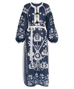 Vita Kin | Tree Of Life Embroidered Linen Midi Dress
