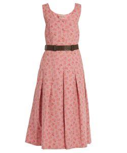 Bottega Veneta | Butterfly-Print Cotton And Linen-Blend Midi Dress
