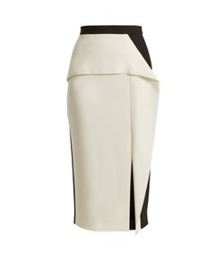 Roland Mouret | Sidley Contrast-Panel Stretch-Cady Skirt