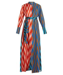 Diane Von Furstenberg | Odeon Chevron-Print Silk Satin-Twill Dress