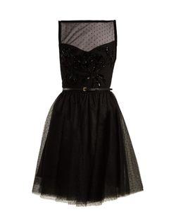 Elie Saab | Slash-Neck Embellished Polka-Dot Tulle Dress