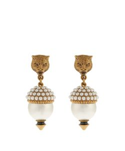 Gucci | Pearl-Effect Embellished Feline Earrings