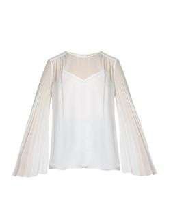 Christopher Kane | Pleated-Sleeve Silk-Georgette Blouse