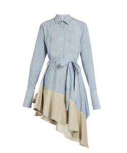 PALMER/HARDING | Asymmetric Corduroy-Hem Fluted Cotton Dress