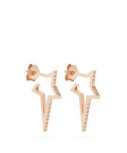 Diane Kordas   Diamond Rose Mini Star Earrings