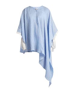 PALMER/HARDING | Ribbon-Trim Asymmetric-Hem Striped Shirt
