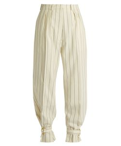 HILLIER BARTLEY | Tie-Cuff Striped Wool Trousers