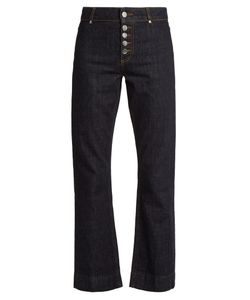 ALEXACHUNG | Exposed-Button Kick-Flare Jeans