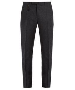 Incotex   Mid-Rise Slim-Leg Flannel-Wool Trousers