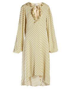 Balenciaga | Ruffled Polka-Dot Print Georgette Dress