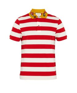 Gucci | Embroidered Striped Polo Shirt
