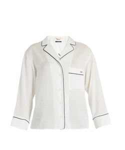 Muveil | Good Night-Embroidered Notch-Lapel Shirt