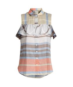 Sea | Ruffle-Trimmed Sleeveless Plaid-Cotton Top