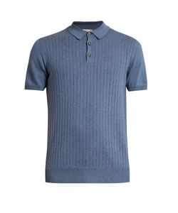 Éditions M.R | Ribbed-Knit Cotton Polo Shirt