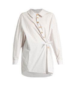 A.W.A.K.E.   Wrap-Effect Checked Cotton Shirt