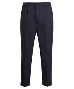 Ami   High-Waisted Turn-Up Cropped Wool Trousers