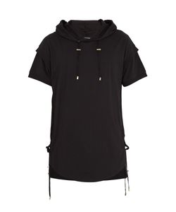 Balmain | Side Lace-Up Cotton Hooded T-Shirt