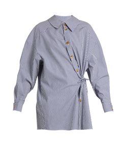 A.W.A.K.E.   Wrap-Effect Striped Cotton-Poplin Shirt