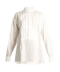 Joseph | Maine Pleated-Bib Vintage-Linen Blouse