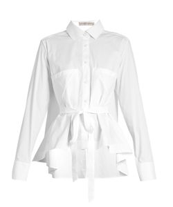 PALMER/HARDING | Extended Waterfall-Hem Cotton-Poplin Shirt