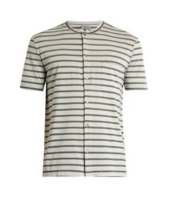 Lanvin | Striped Button-Through Cotton T-Shirt