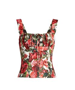 Dolce & Gabbana | Rose-Print Cotton-Poplin Bustier Top