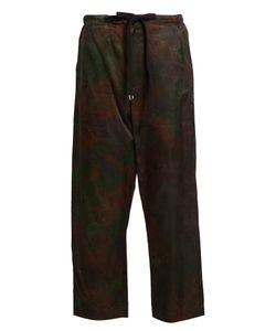 Y'S BY YOHJI YAMAMOTO   Tie-Dye Effect Cropped Satin Trousers