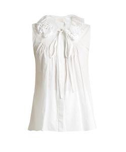 Chloe | Broderie Anglaise-Collar Cotton-Poplin Top