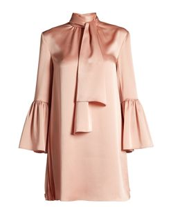 Fendi | Pleat-Side Tie-Neck Satin Mini Dress