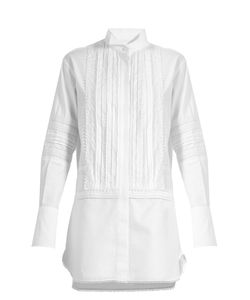 Burberry | Lace-Trimmed Bib-Front Cotton Shirtdress