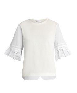 Muveil | Broderie-Anglaise Pleated-Cuff Cotton T-Shirt