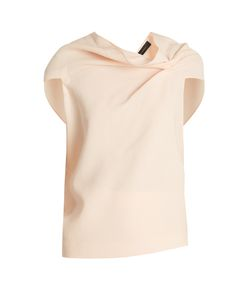Roland Mouret | Eugene Fold-Back Double-Wool Crepe Top