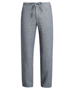 120% Lino | Drawstring-Waist Striped Linen Trousers