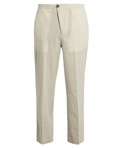 HELBERS | Straight-Leg Striped Cotton Trousers