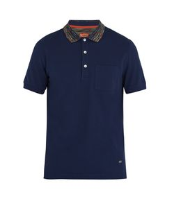 Missoni | Striped-Collar Cotton Polo Shirt