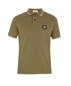 Stone Island | Striped-Edge Cotton-Blend Polo Shirt