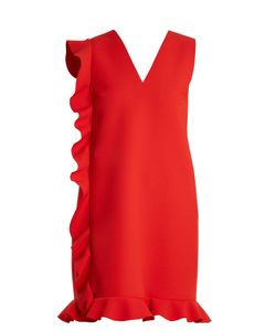 MSGM | Asymmetric-Ruffled Crepe Mini Dress