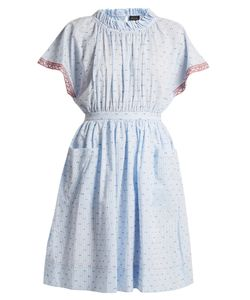 Saloni | Dakota Seersucker Cotton-Blend Dress