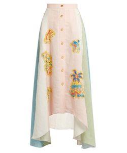 Peter Pilotto | Embroide-Appliqué Dipped-Hem Skirt