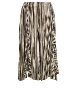 PLEATS PLEASE BY ISSEY MIYAKE | Striped Wide-Leg Pleated Culottes