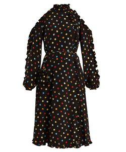 ANNA OCTOBER | Cut-Out Shoulder Polka-Dot Crepe Dress