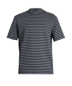 Lanvin | Close-Neck Striped-Cotton T-Shirt