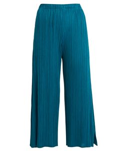 PLEATS PLEASE BY ISSEY MIYAKE | Side-Split Wide-Leg Pleated Cropped Trousers