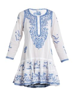 Juliet Dunn | Round-Neck Embroidered Cotton-Voile Dress